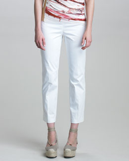 Jean Paul Gaultier Slim Stretch Cotton Pants, White