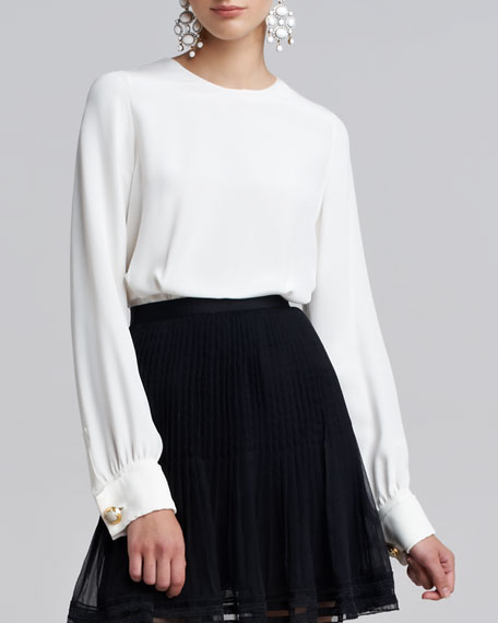Long-Sleeve Silk Cuff Links Blouse