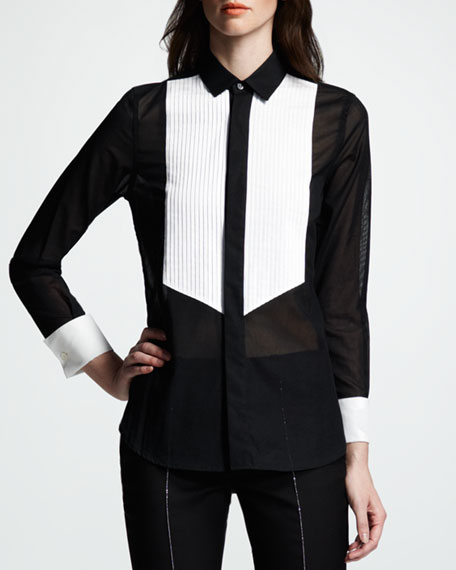 Two-Tone Voile Blouse