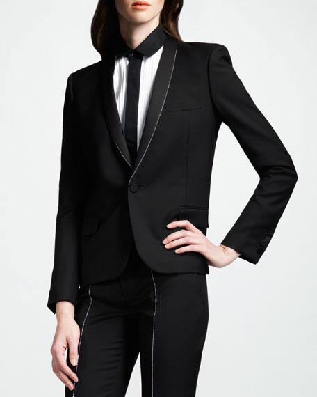 Studded Gabardine Tuxedo Jacket