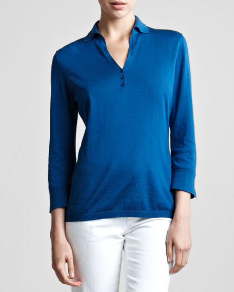 Long Sleeve Zip Front Polo