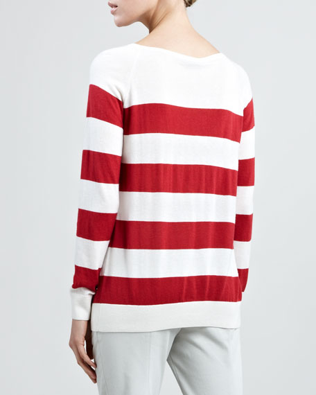 Natalie Striped Sweater with Scarf, Bully Red