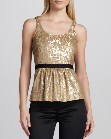 Contrast-Waist Sequined Top