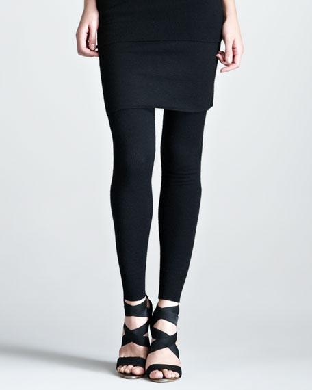 Stretch-Cashmere Leggings, Black