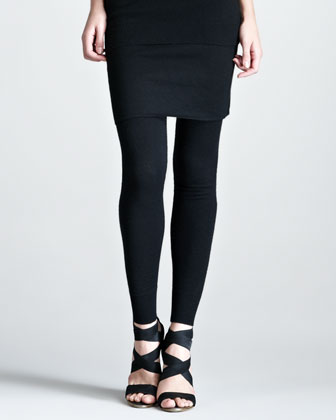 Stretch-Cashmere Leggings, Black