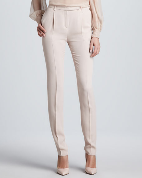 Stitched-Pleat Cady Pants, Poudre