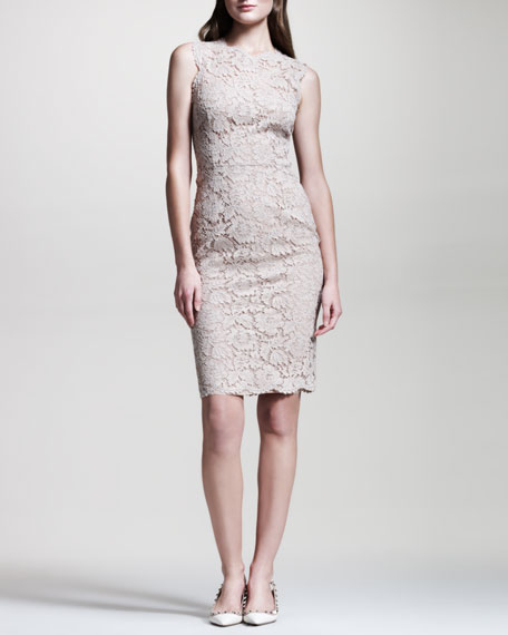 Bow-Back Lace Sheath Dress, Poudre
