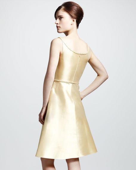 Braid-Trim Mikado Flare Dress