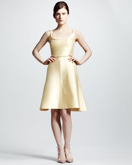 Braid-Trim Mikado Flare Dress