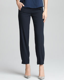 Giorgio Armani Pinstriped Slim Elastic-Detail Trousers