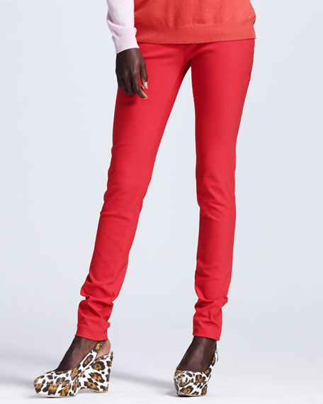 Stretch Cotton Leggings, Tomato