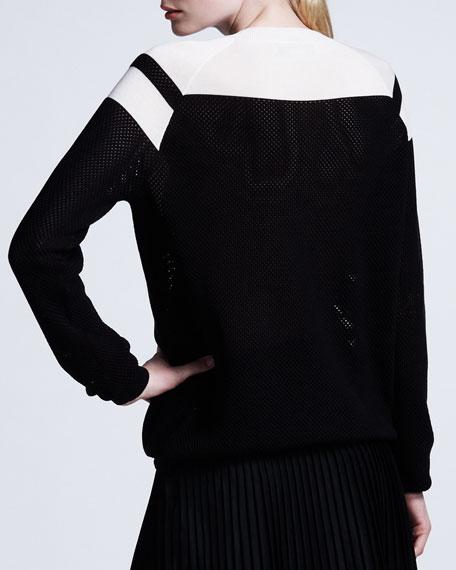 Chevron Mesh Sweater, Black/White