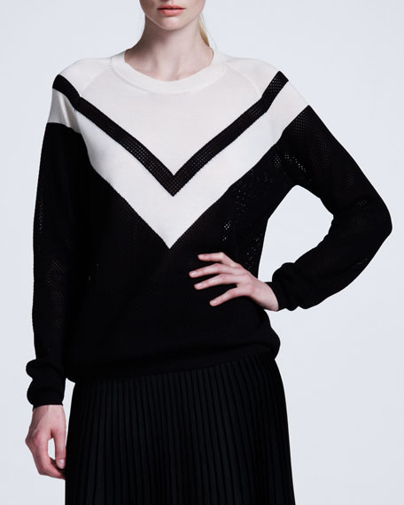 Chevron Mesh Sweater, Black/White