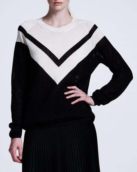 Chevron Mesh Sweater BlackWhite