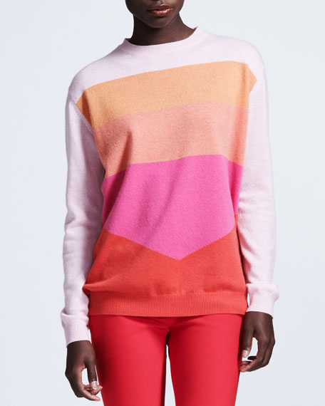 Colorblock Cashmere Sweater, Pink