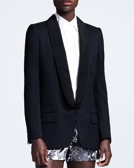Triple-Lapel Tuxedo Jacket, Blue Shadow