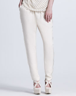 Stella McCartney Eyelash Fringe-Trimmed Pants