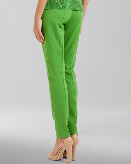 Double-Faced Cotton-Silk Pants, Grass