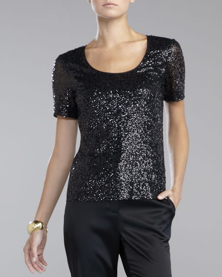 Sequined Tulle Blouse, Caviar