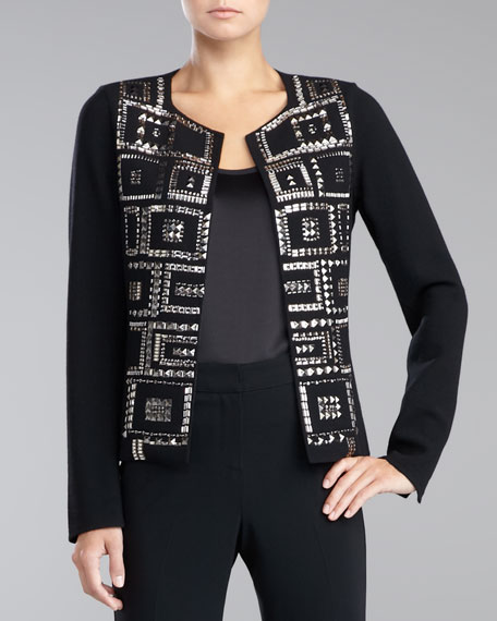 Beaded Double-Faced Crepe Jacket