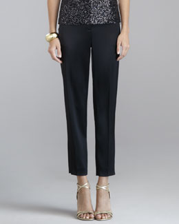 Emma Liquid Satin Cropped Pants, Caviar