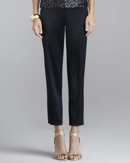 Emma Liquid Satin Cropped Pants, Caviar