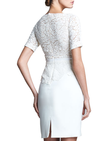 Short-Sleeve Dress with Lace Overlay