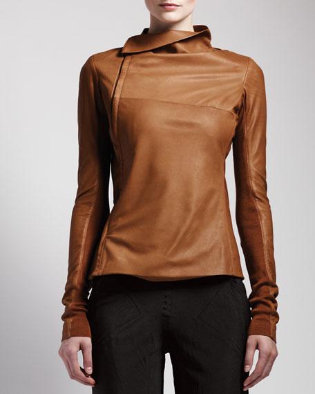 Side-Zip Leather Jacket, Honey