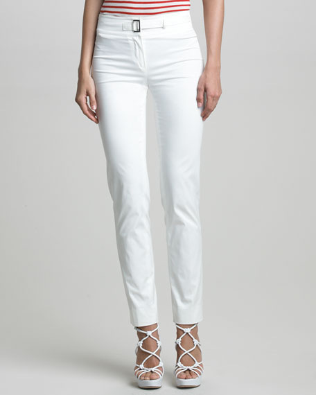 Buckle-Front Cotton Twill Pants