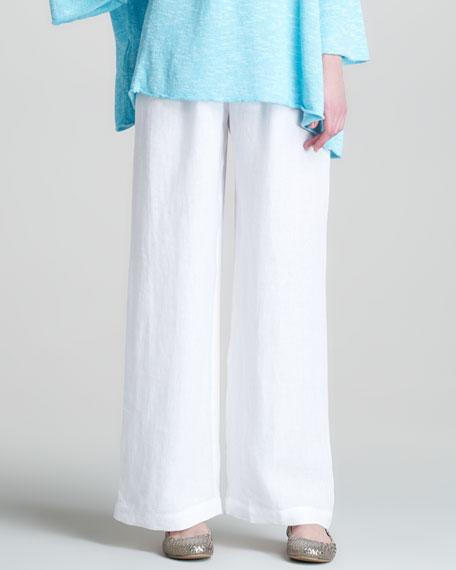 Drawstring Linen Trousers, White