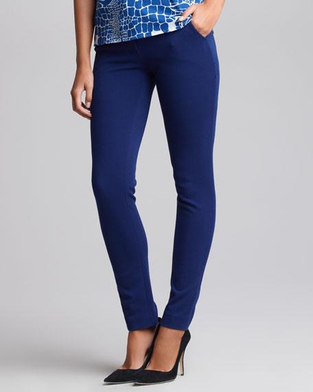 Low-Rise Slim-Cut Trousers, Blue