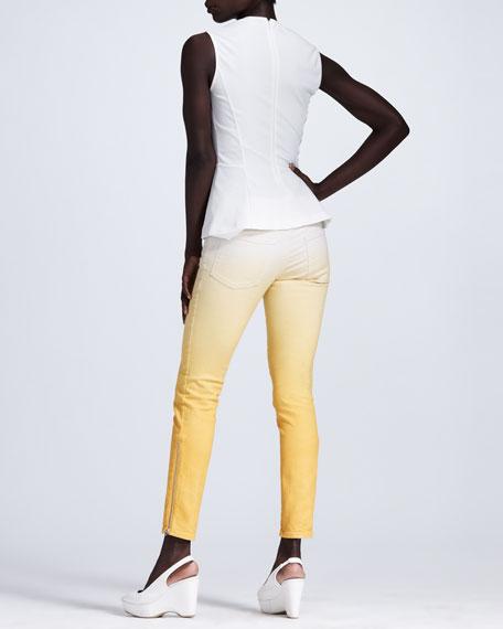 Ombre Skinny Jeans, White/Mango