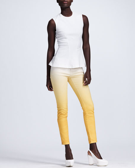Ombre Skinny Jeans, White/Mango