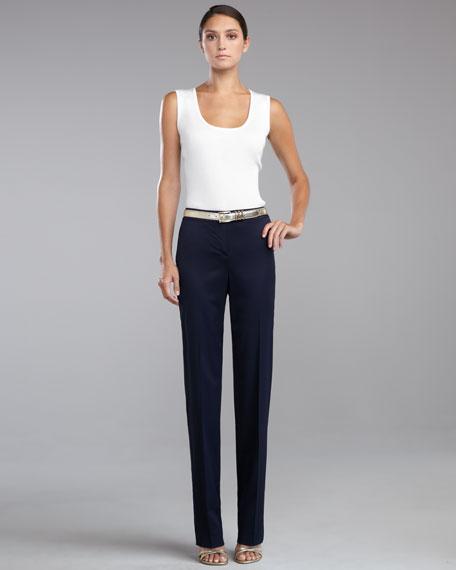 Diana Straight-Leg Pants, Navy