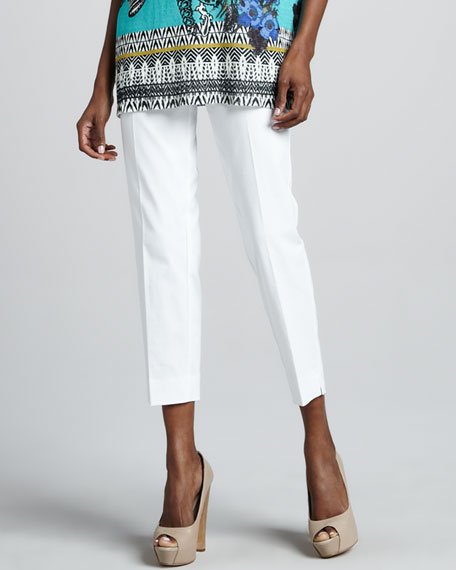 Cropped Ankle Pants, White