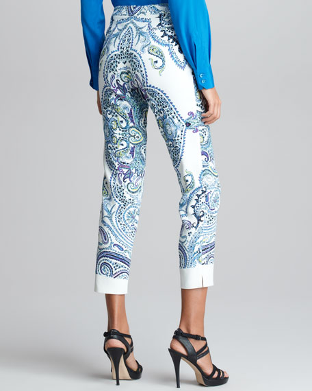 Printed Cropped Pants, White