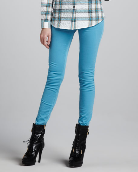 Skinny Brushed Twill Pants, Cobalt Turquoise