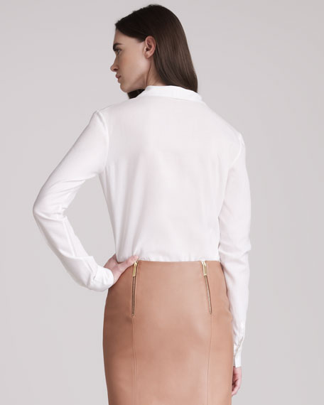 Cotton Blouse With Front Neck Ties