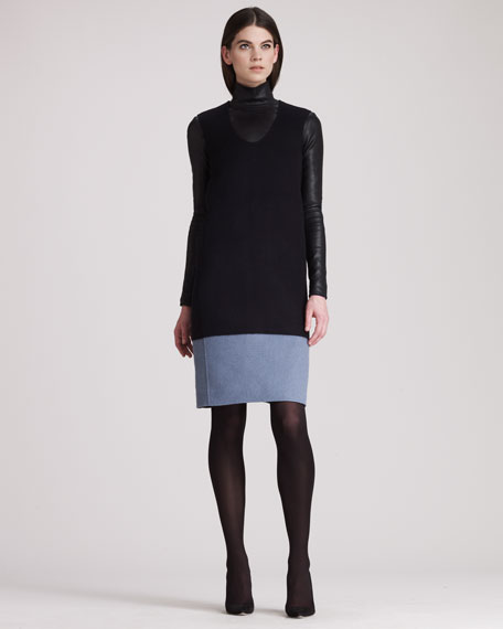 Colorblock Sleeveless Wool Dress