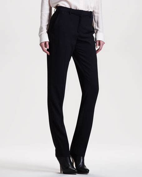 Slim Crepe-Back Satin Pants