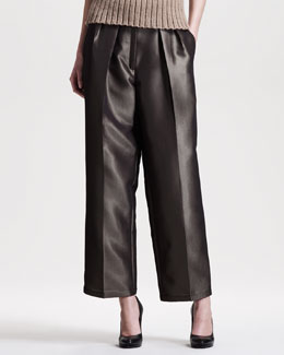 THE ROW Metallic (Bronze) Wide-Leg Pants