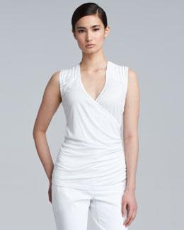 Escada Slash-Shoulder Sleeveless Shell, White