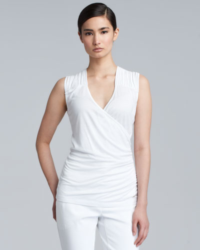 Escada Slash-Shoulder Sleeveless Shell, White