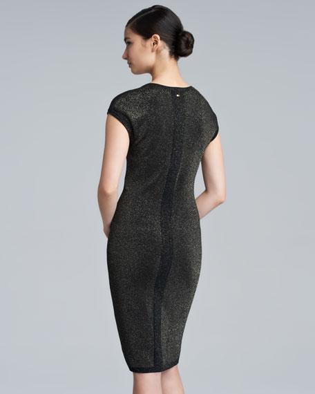 Sezen Metallic Knit Dress, Black
