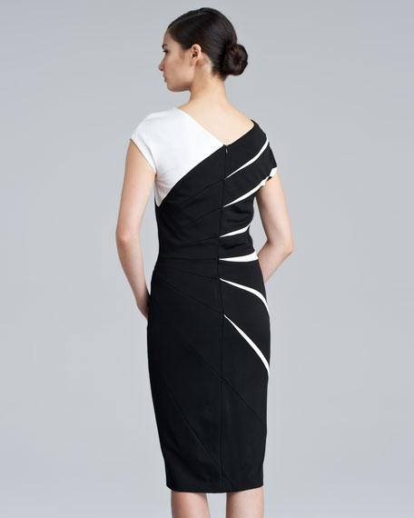 Daidas Cap-Sleeve Scuba Dress, Black