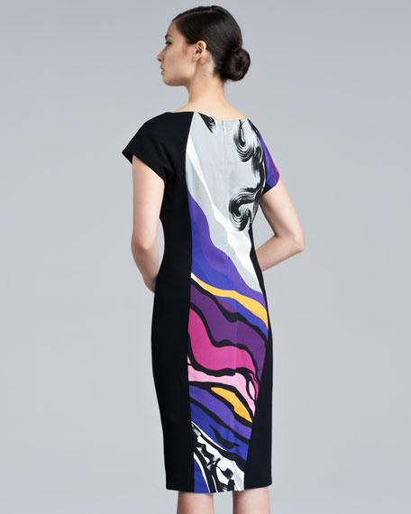 Dhoudas Printed Cap-Sleeve Dress