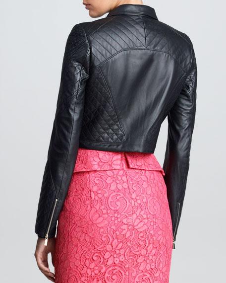 Padded Leather Motorcycle Jacket, Black