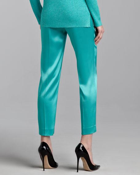 Emma Liquid Satin Cropped Pants, Jade
