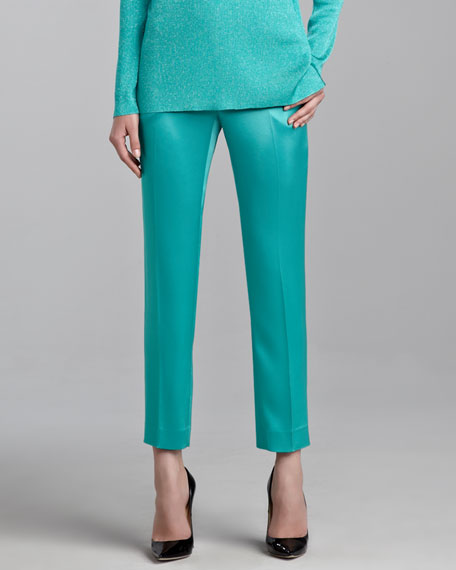 Emma Liquid Satin Cropped Pants, Jade