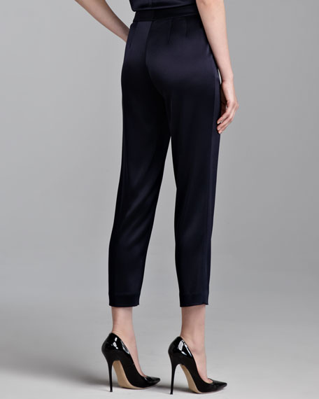 Emma Liquid Satin Cropped Pants, Navy